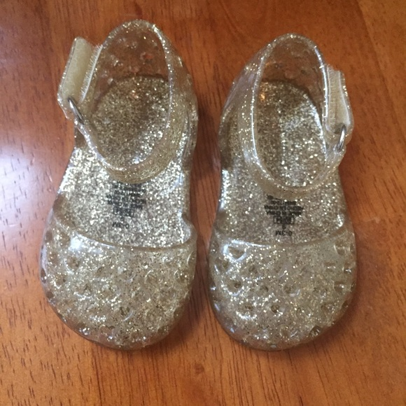 Gold Glitter Jelly Sandals Shoes